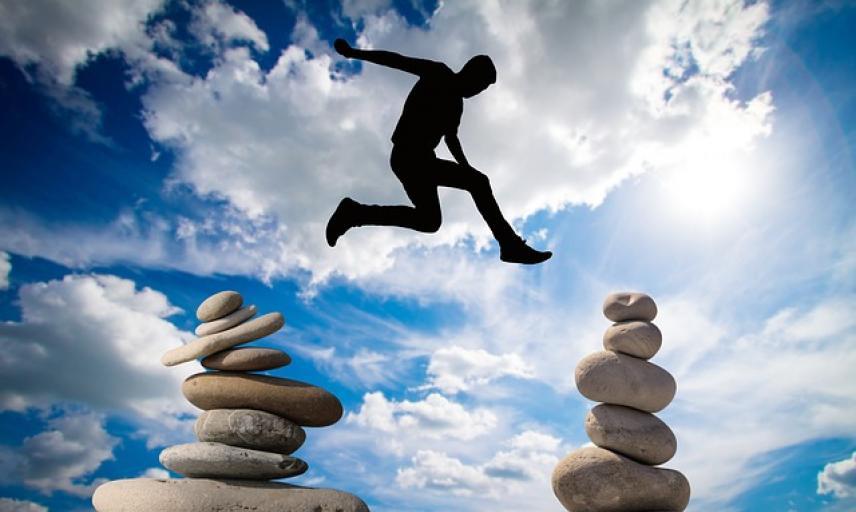 Jumping over balancing stones