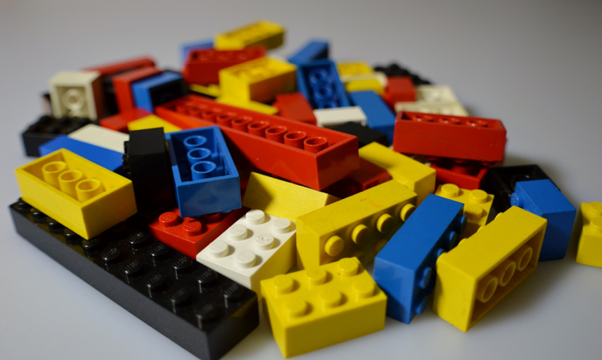 Assorted Lego blocks in a variety of colours
