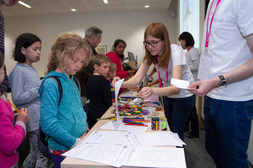 A busy room of craft activities